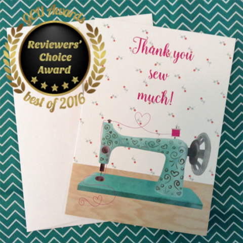 Greeting card universe reviewers' choice award winner Thank you sew much by Michelle Goggins