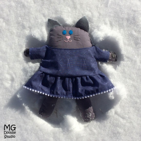 kitty snow angel designed by Michelle Goggins MG Doodle Studio