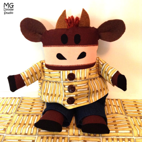 Bull softie and fabric designed by Michelle Goggins at MG Doodle Studio