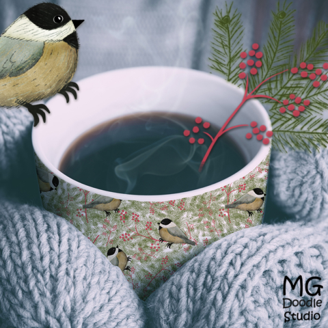 Chickadee on a cup mock up image