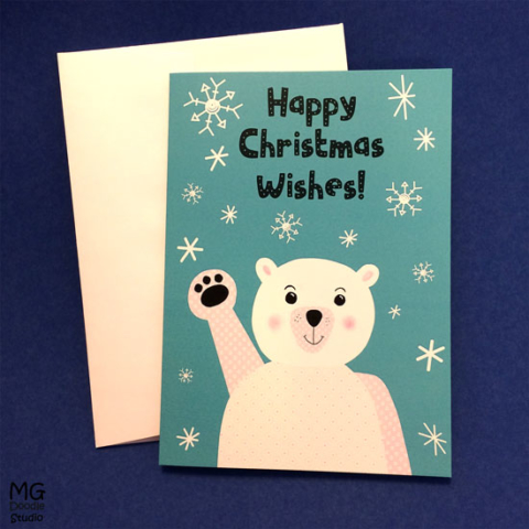 Happy Christmas Wishes card by Michelle Goggins at MG Doodle Studio