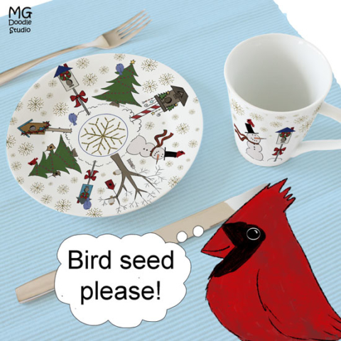 bird seed please place setting mock up by Michelle Goggins at MG Doodle Studio
