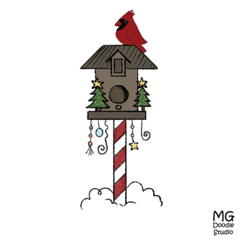 Cardinal on a Christmas birdhouse drawing by Michelle Goggins